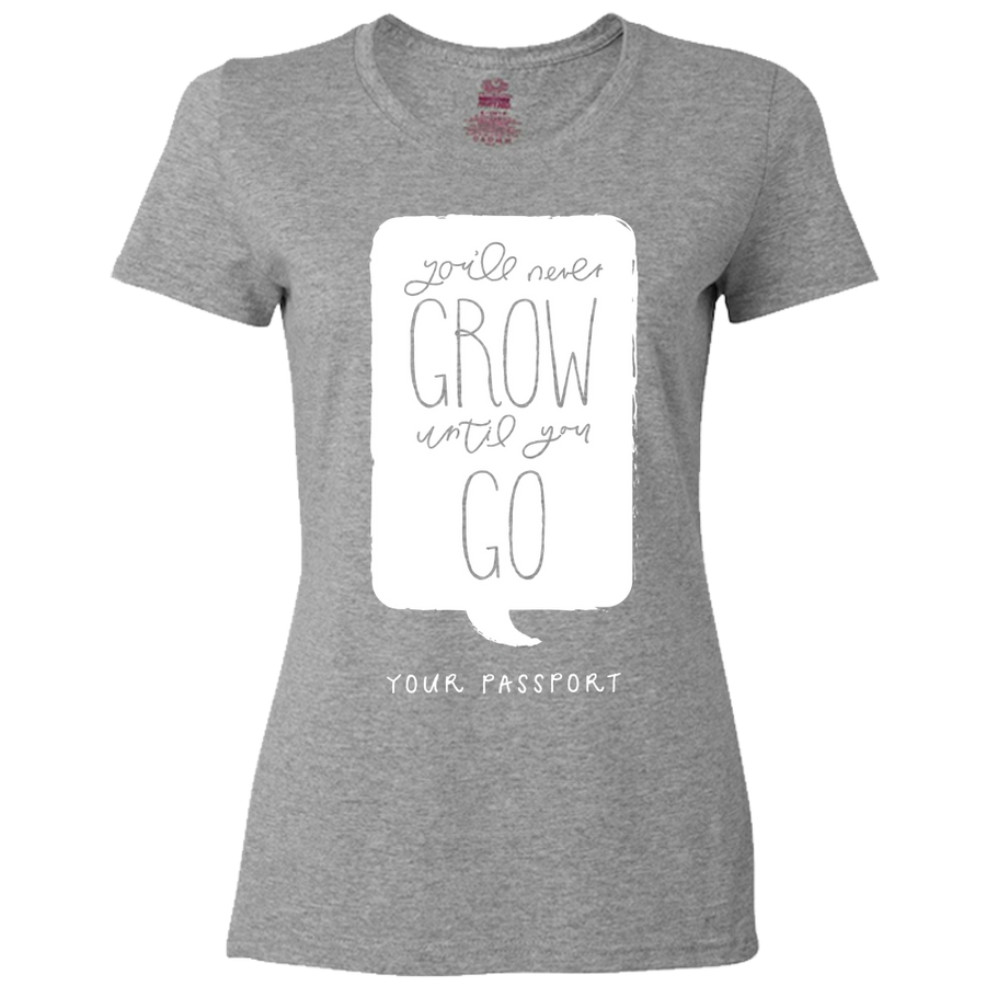 Travel Themed T-Shirt: Wont Grow Until You Go Ladies Maroon
