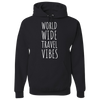 Travel Themed Hoodie: Worldwide Travel Vibes Black