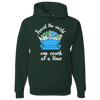 Travel Themed Hoodie: One Couch at a Time White Words Green