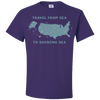 Travel Themed T Shirt: Travel From Sea to Shining Sea Purple