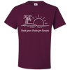Travel Themed T-Shirt: Trade Desks for Sunsets Maroon