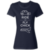 Travel Themed T-Shirt: Ride or Fly Chick Ladies White Words Navy