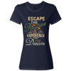 Travel Themed T-Shirt: Escape the Routine Ladies Navy Blue