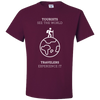 Travel Themed T-Shirt: Tourist vs Traveler Maroon