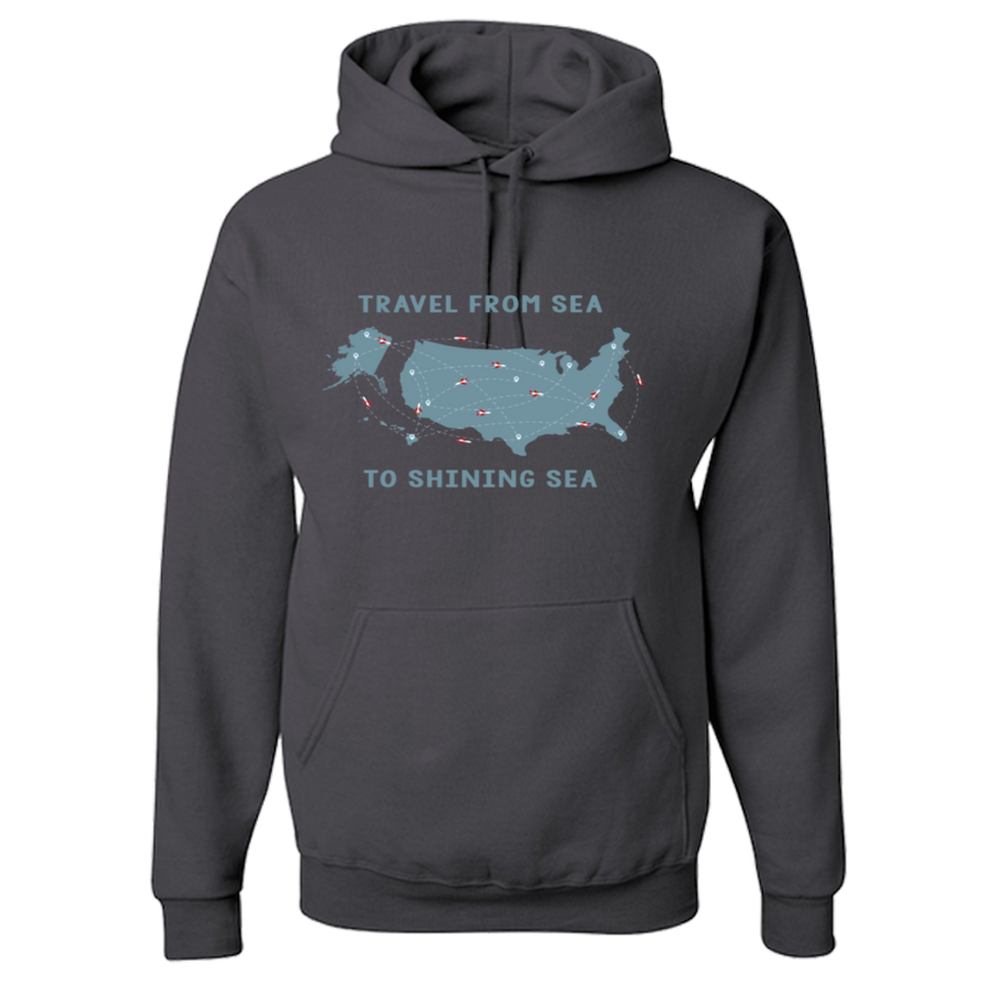 Travel Themed Hoodie: Travel From Sea to Shining Sea Black