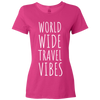 Travel Themed T-Shirt: Worldwide Travel Vibes Womens Pink