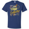 Travel Themed T Shirt: Stamp Collector Royal Blue