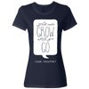 Travel Themed T-Shirt: Wont Grow Until You Go Ladies Navy Blue