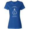 Travel Themed T-Shirt: Tourist vs Traveler Ladies White Words Royal Blue