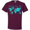 Travel Themed T Shirt: Worldwide Travel Vibes Graphic Maroon
