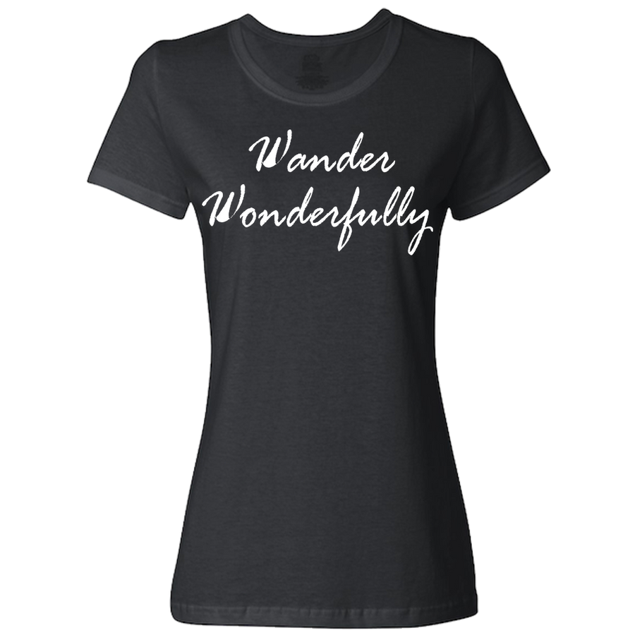 Travel Themed T-Shirt: Wander Wonderfully Ladies Gray