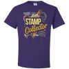 Travel Themed T Shirt: Stamp Collector Purple