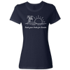 Travel Themed T-Shirt: Trade Desks for Sunsets Ladies Navy Blue