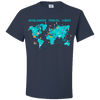 Travel Themed T Shirt: Worldwide Travel Vibes Graphic Navy Blue