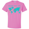 Travel Themed T Shirt: Worldwide Travel Vibes Graphic Pink