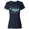 Travel Themed T-Shirt: Travel From Sea to Shining Sea Ladies Navy Blue