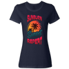 Travel Themed T-Shirt: Sunburn Sunset Repeat Ladies Navy Blue