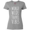 Travel Themed T-Shirt: Worldwide Travel Vibes Womens Gray