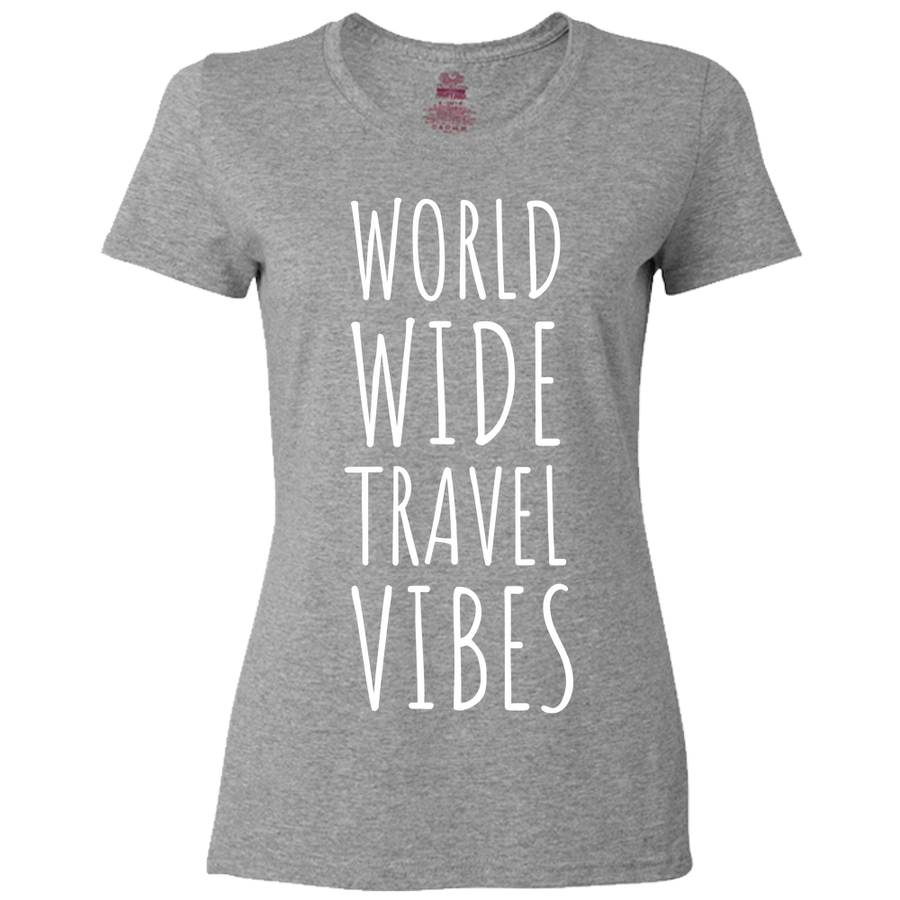 Travel Themed T-Shirt: Worldwide Travel Vibes Womens Black