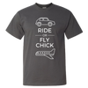 Travel Themed T-Shirt: Ride or Fly Chick Gray