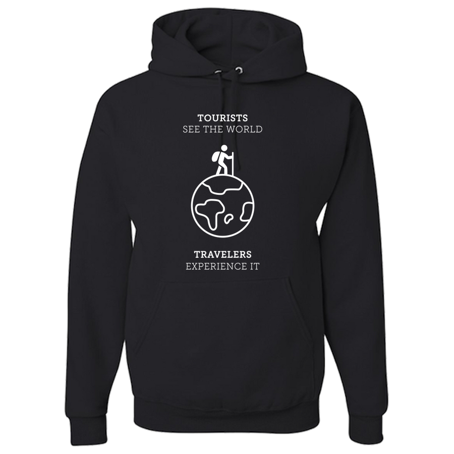 Travel Themed Hoodie: Tourist vs Traveler Hoodie White Words Dark Gray