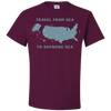 Travel Themed T Shirt: Travel From Sea to Shining Sea Maroon