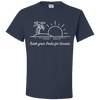 Travel Themed T-Shirt: Trade Desks for Sunsets Navy Blue