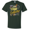 Travel Themed T Shirt: Stamp Collector Green