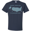 Travel Themed T Shirt: Travel From Sea to Shining Sea Navy Blue