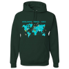 Travel Themed Hoodie: Worldwide Travel Vibes Graphic Green