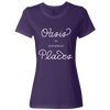 Travel Themed T Shirt: Oasis in Different Places Ladies Purple