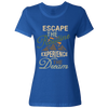 Travel Themed T-Shirt: Escape the Routine Ladies Royal Blue