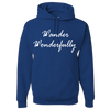 Travel Themed Hoodie: Wander Wonderfully Royal Blue