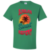 Travel Themed T Shirt: Sunburn Sunset Repeat Light Green
