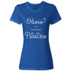 Travel Themed T Shirt: Oasis in Different Places Ladies Royal Blue