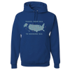 Travel Themed Hoodie: Travel From Sea to Shining Sea Royal Blue