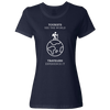 Travel Themed T-Shirt: Tourist vs Traveler Ladies White Words Navy Blue