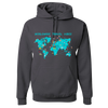 Travel Themed Hoodie: Worldwide Travel Vibes Graphic Gray
