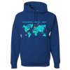 Travel Themed Hoodie: Worldwide Travel Vibes Graphic Royal Blue