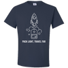 Travel Themed T-Shirt: Pack Light, Travel Far White Words Navy Blue