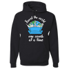 Travel Themed Hoodie: One Couch at a Time White Words Black