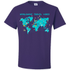 Travel Themed T Shirt: Worldwide Travel Vibes Graphic Purple