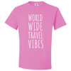 Travel Themed T-Shirt: Worldwide Travel Vibes Pink