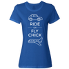 Travel Themed T-Shirt: Ride or Fly Chick Ladies White Words Royal Blue