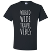Travel Themed T-Shirt: Worldwide Travel Vibes Black