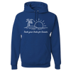 Travel Themed Hoodie: Trade Desks for Sunsets Royal Blue