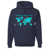 Travel Themed Hoodie: Worldwide Travel Vibes Graphic Navy Blue