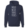 Travel Themed Hoodie: Worldwide Travel Vibes Navy Blue