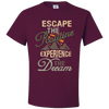 Travel Themed T Shirt: Escape the Routine Maroon
