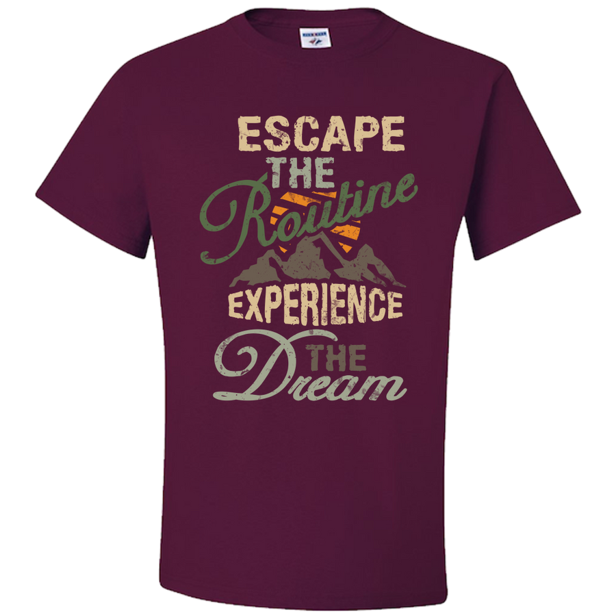Travel Themed T Shirt: Escape the Routine Navy Blue